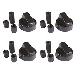 4 Pack Black Universal Stove/Oven Control Knob With 12 Adapt