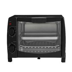 Mainstays 4 Slice Black Toaster Oven with Dishwasher-Safe Ra