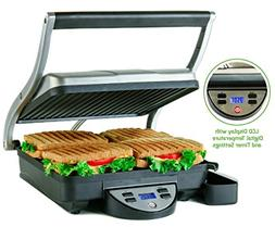 Ovente 4-Slice Digital Electric Panini Press Grill and Gourm