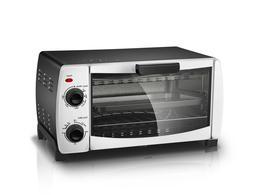 4-Slice Toaster Oven in White with Baking Rack and Pan
