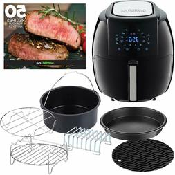 Air Fryer 5.8 Qt. Black 8-in-1 Electric With Nonstick Pan An