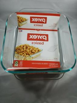 Pyrex Basics 8-Inch Square Baking Dish, Clear Set of 2