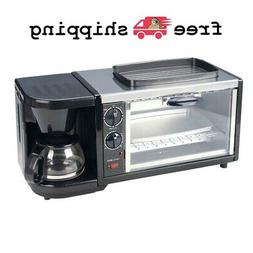 Breakfast Station Toaster Oven Non Stick Griddle Coffee Make