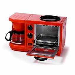 Coffee Pot Combo 3 in 1 Breakfast Appliance Toaster Oven Gri