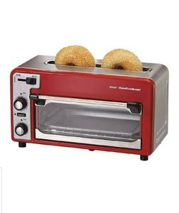 Combination Toaster Oven & Two Slice Toaster Small Red Kitch