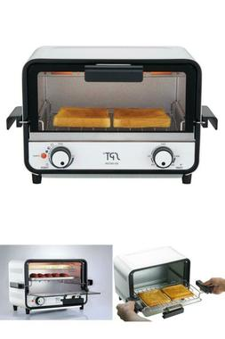Easy Grasp 800 W 2-Slice White Countertop Toaster Oven With