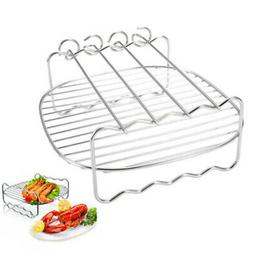 "Grill Rack Skewers Accessories Stainless Steel 8"" Double Lay"