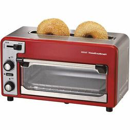 HB Two Slice Toaster Red Silve