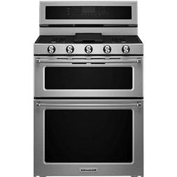 KITCHENAID KFGD500ESS Double Oven Gas Freestanding Range, 6.