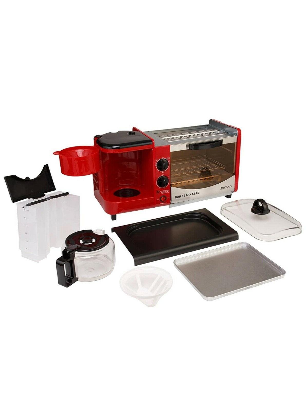 3-in-1 Multifunction Breakfast toaster oven, griddle pan, coffee maker