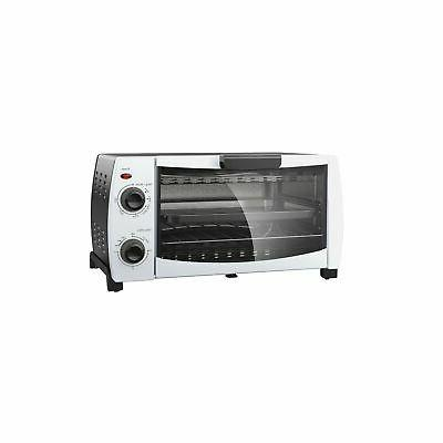 "Mainstays 4-Slice Toaster Oven 9"" Bake 1000W w/ Pan"