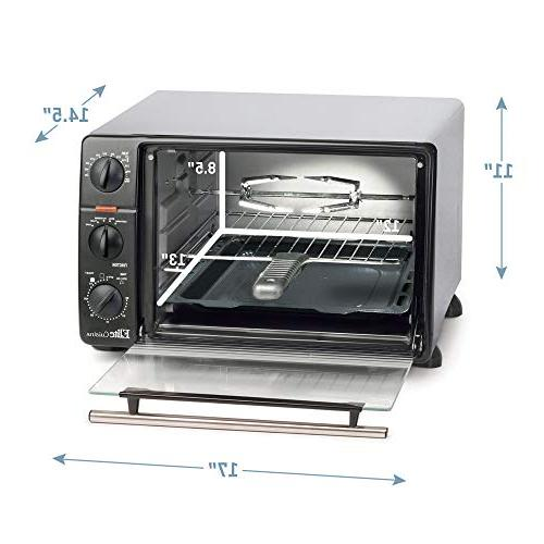 Elite Cuisine Toaster with Stay-On Bake, Toast, Warm, 23L Capacity