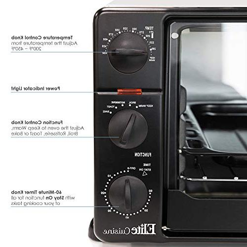 Elite Toaster 60-Min Timer with Function Bake, Grill, Toast, Keep Capacity L