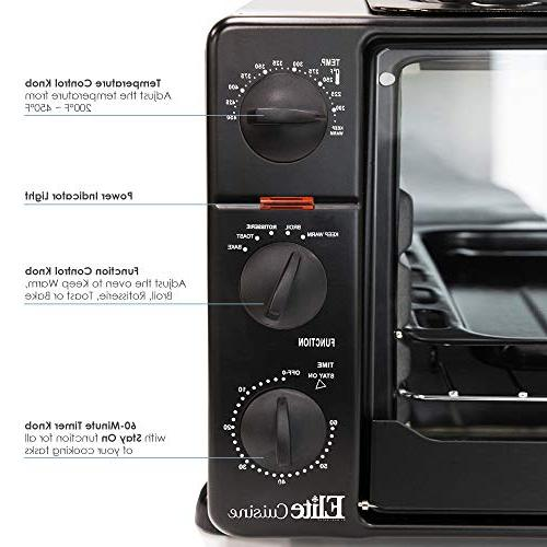 Elite Cuisine ERO-2008S Toaster Oven Grill Griddle Bake, Grill, Broil, Toast, 23L Capacity Pizza, 6-Slice,