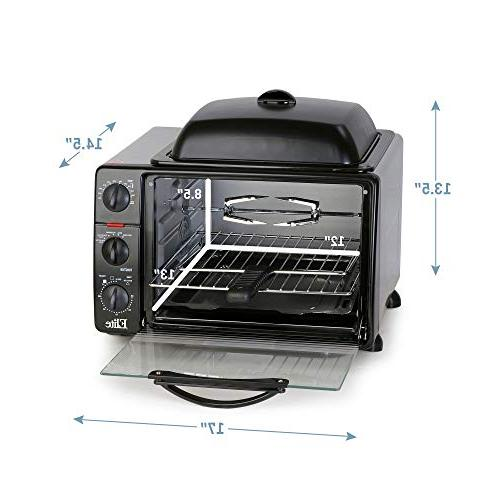 """Elite XL Toaster Top Grill/Griddle Convection, Rotisserie, Grill, Broil, Roast, Warm capacity fits 12"""""""