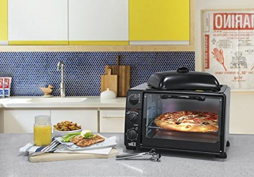 Elite Cuisine XL Oven with Top Grill/Griddle Convection, Rotisserie, Broil, Roast, Warm and Steam, capacity a pizza, Black