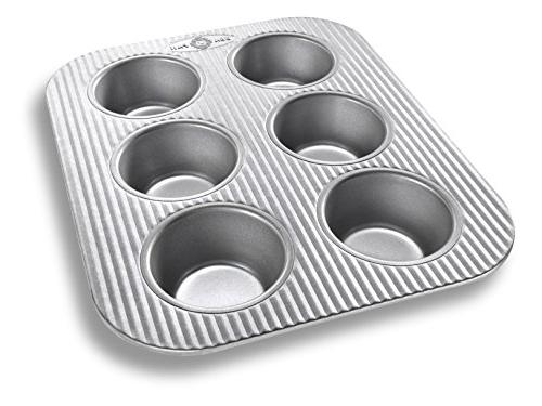 USA Pan Bakeware Toaster Oven Muffin Pan, 6 Well, Nonstick &