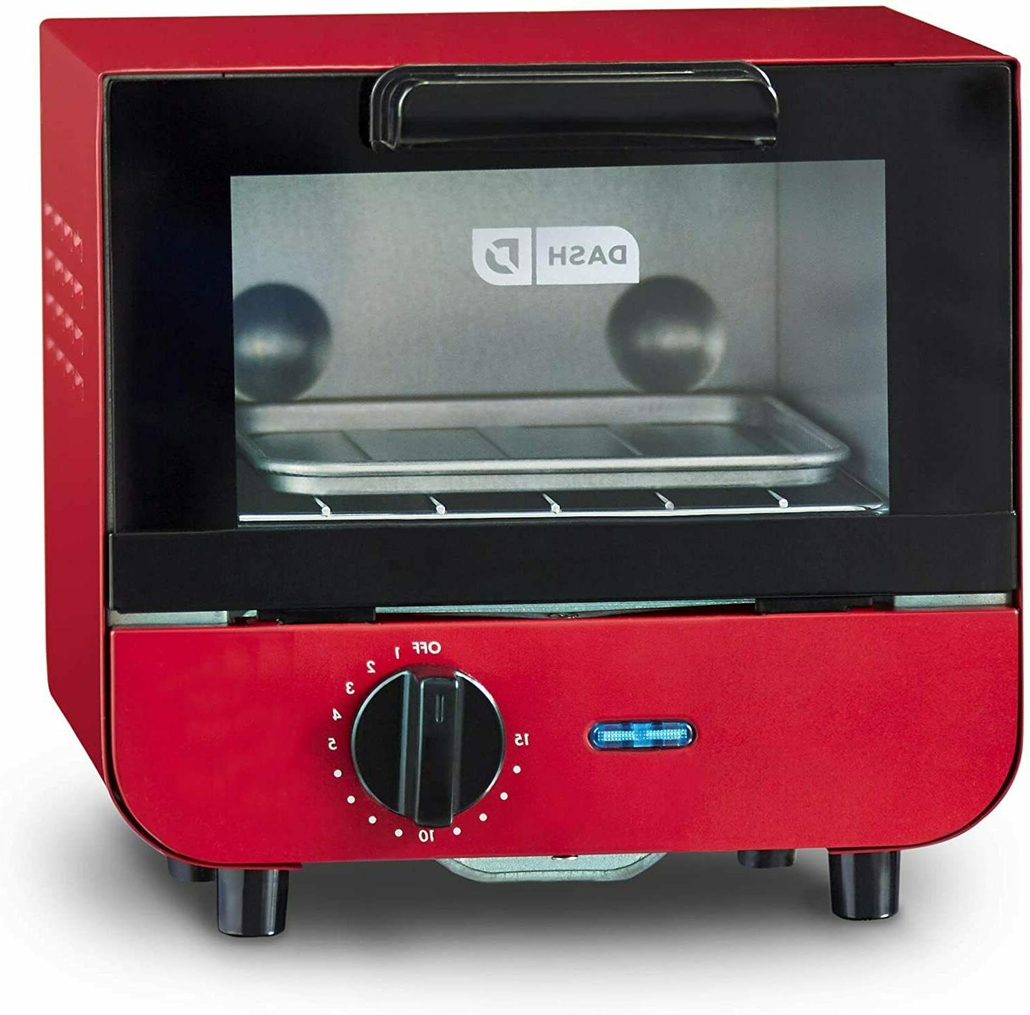 Red Dash Mini Toaster Oven Cooker for Bread with Baking Tray