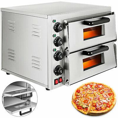 electric 3000w pizza oven double deck commercial