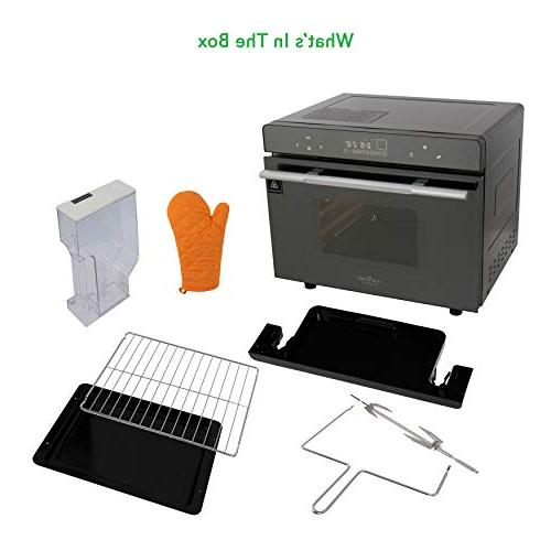 Electric Oven Smart Digital Stainless Compact Kitchen Toaster w/Baking Rack Tray, -