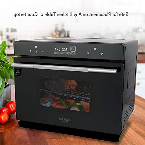 Electric Countertop Oven - Smart Steel Compact Kitchen Black Rotisserie Toaster Rack Tray, Glass - NutriChef PKSTMOVN72