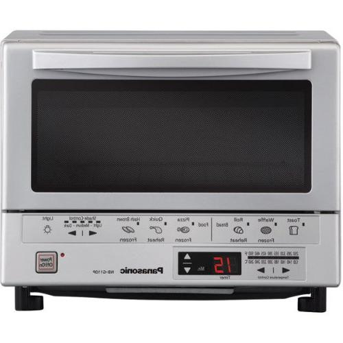 Panasonic 1300 Watts Toaster Oven, Instant Double Infrared Heating, 6 and Automatically Calculates Time, a Timer with Beep and a Inner Tray with Crumb Tray,