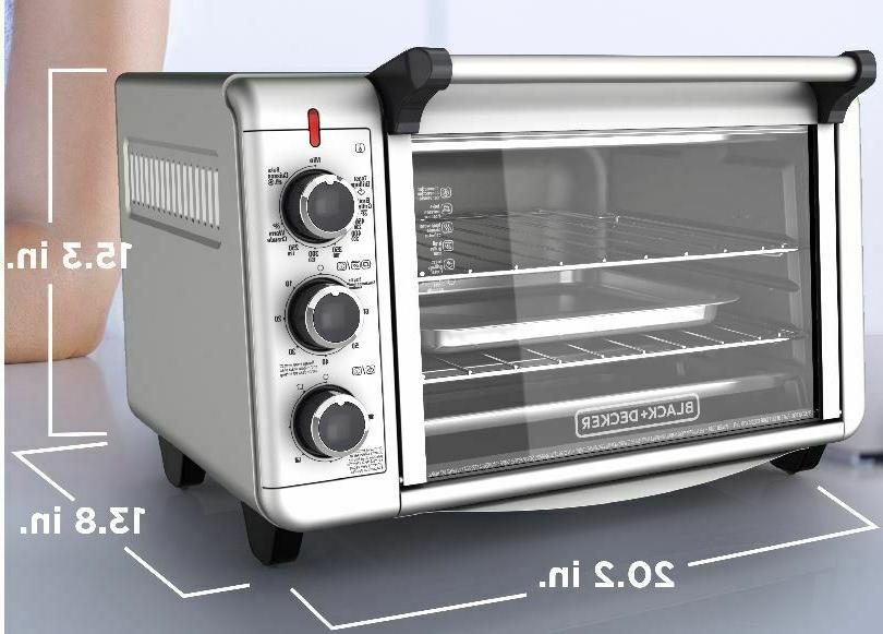 Stainless Steel Convection Countertop Toaster Baking Cooking BLACK +