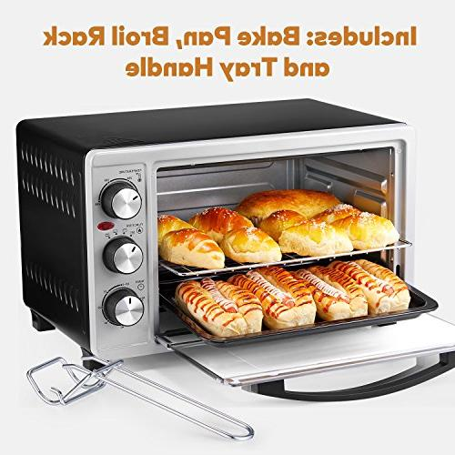 Toaster Oven Slice Oven Toast/Bake/Broil with Heating Elements Toaster Oven Steel Toaster Black/Silver