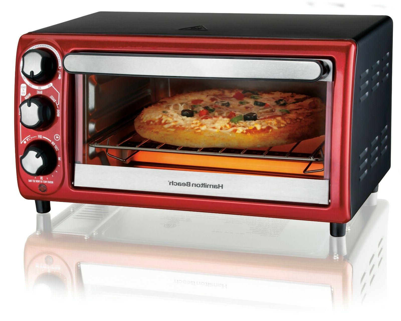"Hamilton Beach Toaster Oven Red 4 Slice Capacity 9"" Pizza 15"