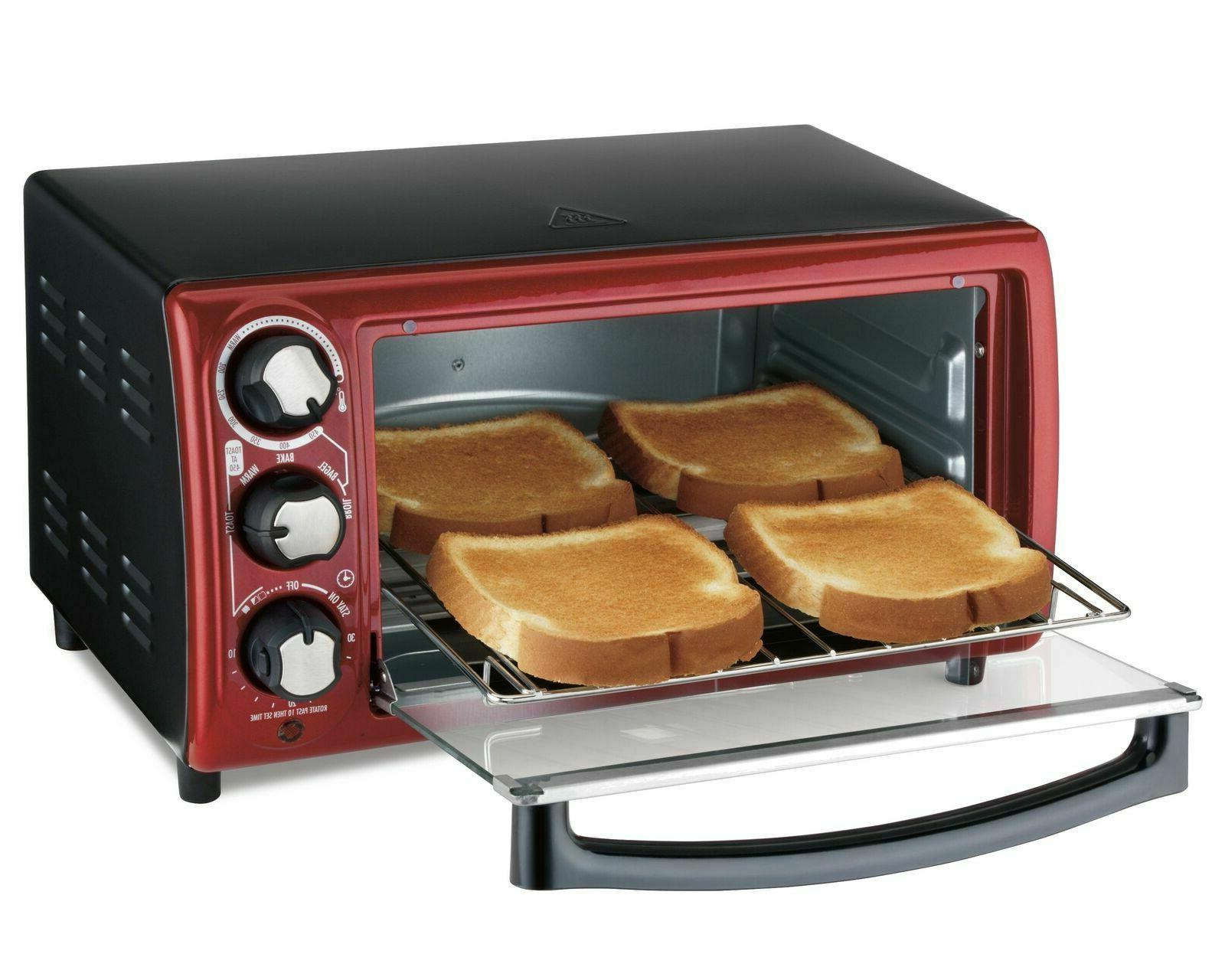 toaster oven red 4 slice capacity model