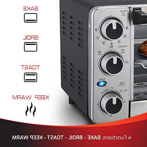 Toaster Oven Slice, Multi-function Steel Timer - - Bake Settings, Watts of Baking and by Mueller