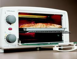 Large Countertop 4-Slice Toaster Oven Broiler In White Bake