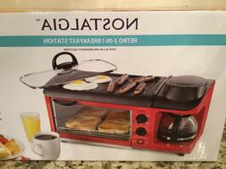 Nostalgia Retro 3-in-1 Family Size Breakfast Station-Toaster