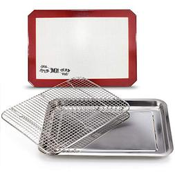 Stainless Steel Sheet Pan 15.5 x 11.5 inch Cooling Rack & Si