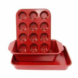 Toaster Oven 3Pc Set Baking Loaf And Mini Muffin Pan 12 Cup