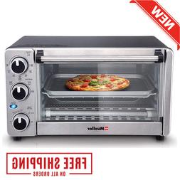 Toaster Oven 4 Slice, Multi-function Stainless Steel Finish