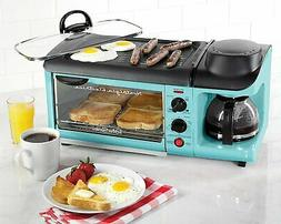 Toaster Oven Breakfast Station New Blue Griddle Lid Coffee M