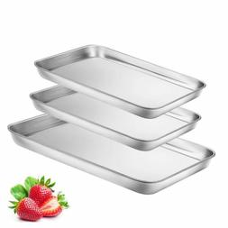 Toaster Oven Tray Pan, 3PCS Small Cookie Sheet Stainless Ste