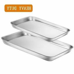 Toaster Oven Tray Pans Set of 2, Small Stainless Steel Bak