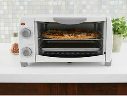 White Toaster Oven 4-Slice with Pan & Baking Rack Kitche
